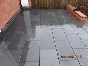 Image Is Loading Black Slate Paving Slabs Patio 600x400 30m2 Bundle15mm