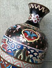 Antique Japanese Meiji Cloisonne Bronze Enamel Vase Jar Gilt Taisho Enamel 1880s