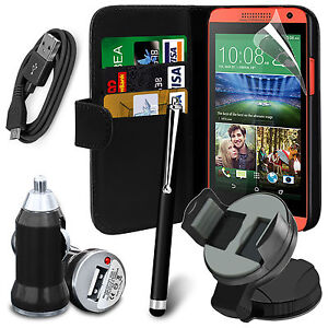 Black-6-in-1-Accessory-Pack-Leather-Wallet-Flip-Card-Slot-Case-For-Mobiles