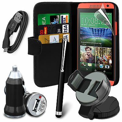 Black - 6 in 1 Accessory Pack Leather Wallet Flip Card Slot Case For Mobiles