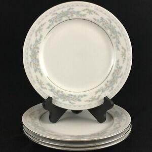 Set-of-4-VTG-Dinner-Plates-10-1-4-034-Excel-China-Somerset-Blue-Floral-and-Ribbons