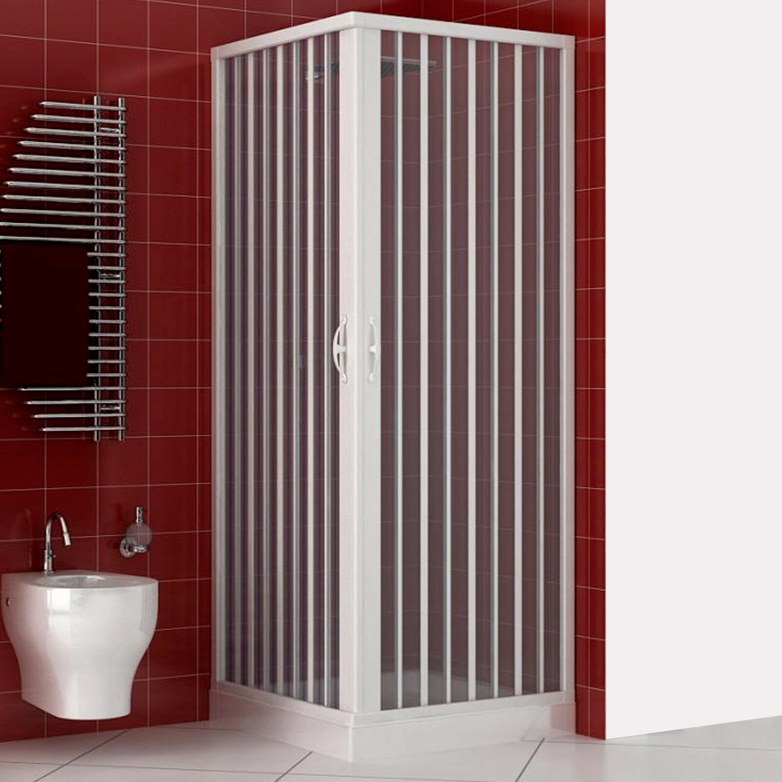Box doccia acrilico 90x70 bainco apertura a soffietto riducibile su misura nuovo