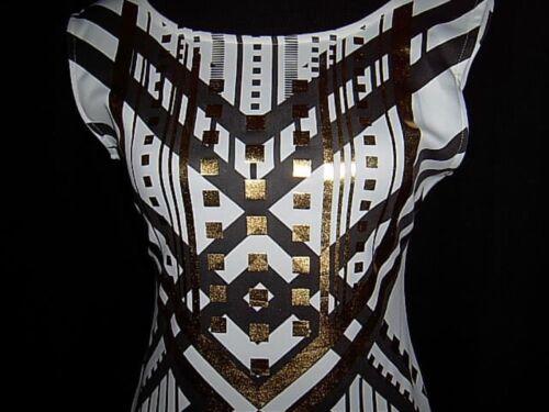 Gold 36 Print Jersey Stretchkleid Foil Goldfoliendruck 38 Schwarz S Weiß Kleid qntaZAw