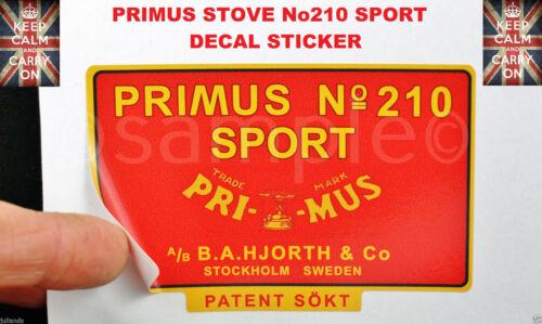 PRIMUS STOVE No210 SPORTS REPLACMENT DECAL STICKER KEROSENE STOVE