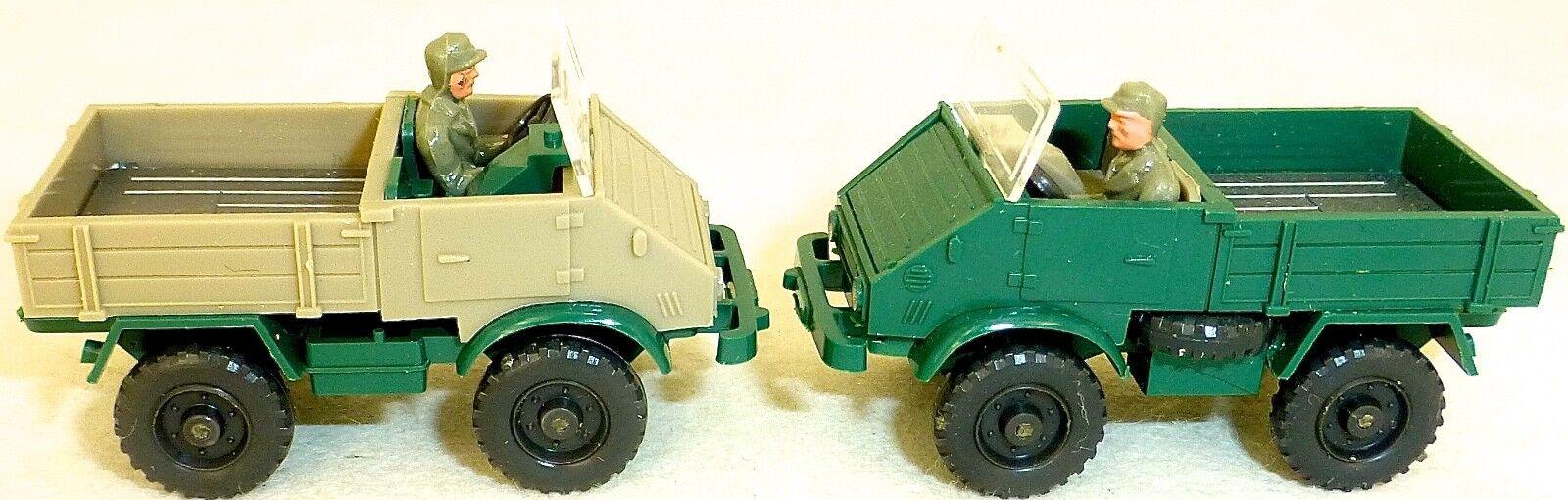 2 x Wiking MB Unimog 411 Verde/Verde + Verde/Grigio-Oliva 37n H0 1:87 Å