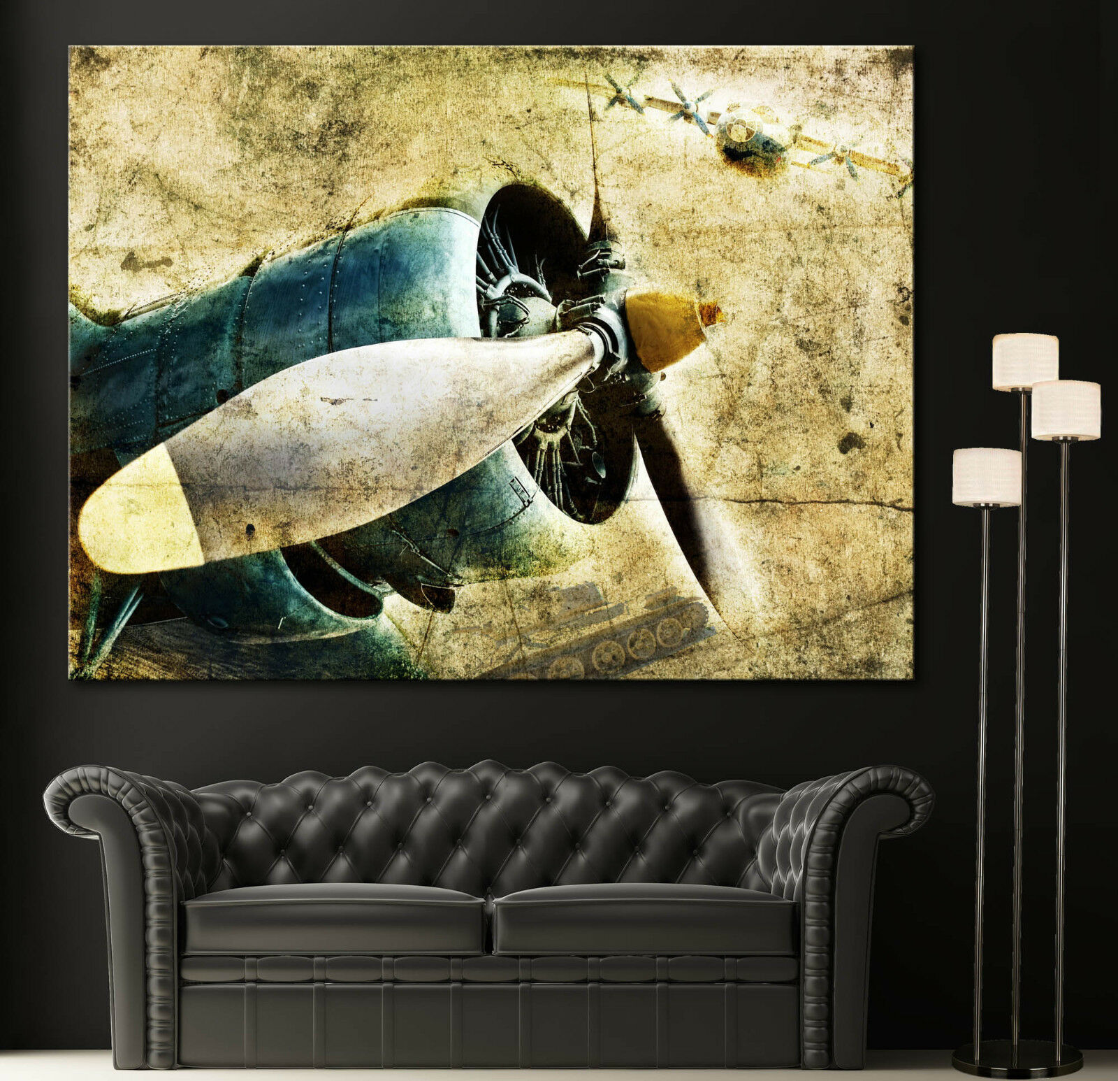 Home Wall Art Propeller Airplane Engine Canvas Print Picture Propellers Prints 1