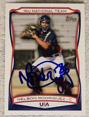 Cleveland Indians Nelson Rodriguez Signed 2010 Topps USA Baseball Auto Card
