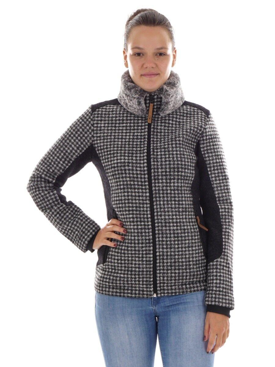 Funzione CMP Giacca LANA Cardigan Nero wooltech pattern pelliccia