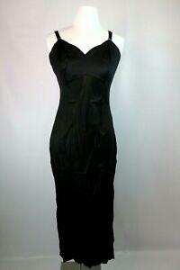 KOMAR-Vintage-70s-Black-Nylon-Full-Length-Long-Slip-Nightgown-Sz-Formal-36