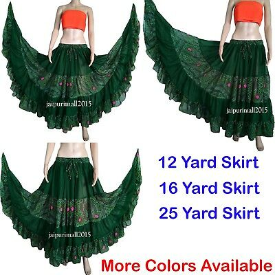 25 Yard Tiered Gypsy Skirt Belly Dance ATS Dance Flamenco Rock Chiffon 12-16