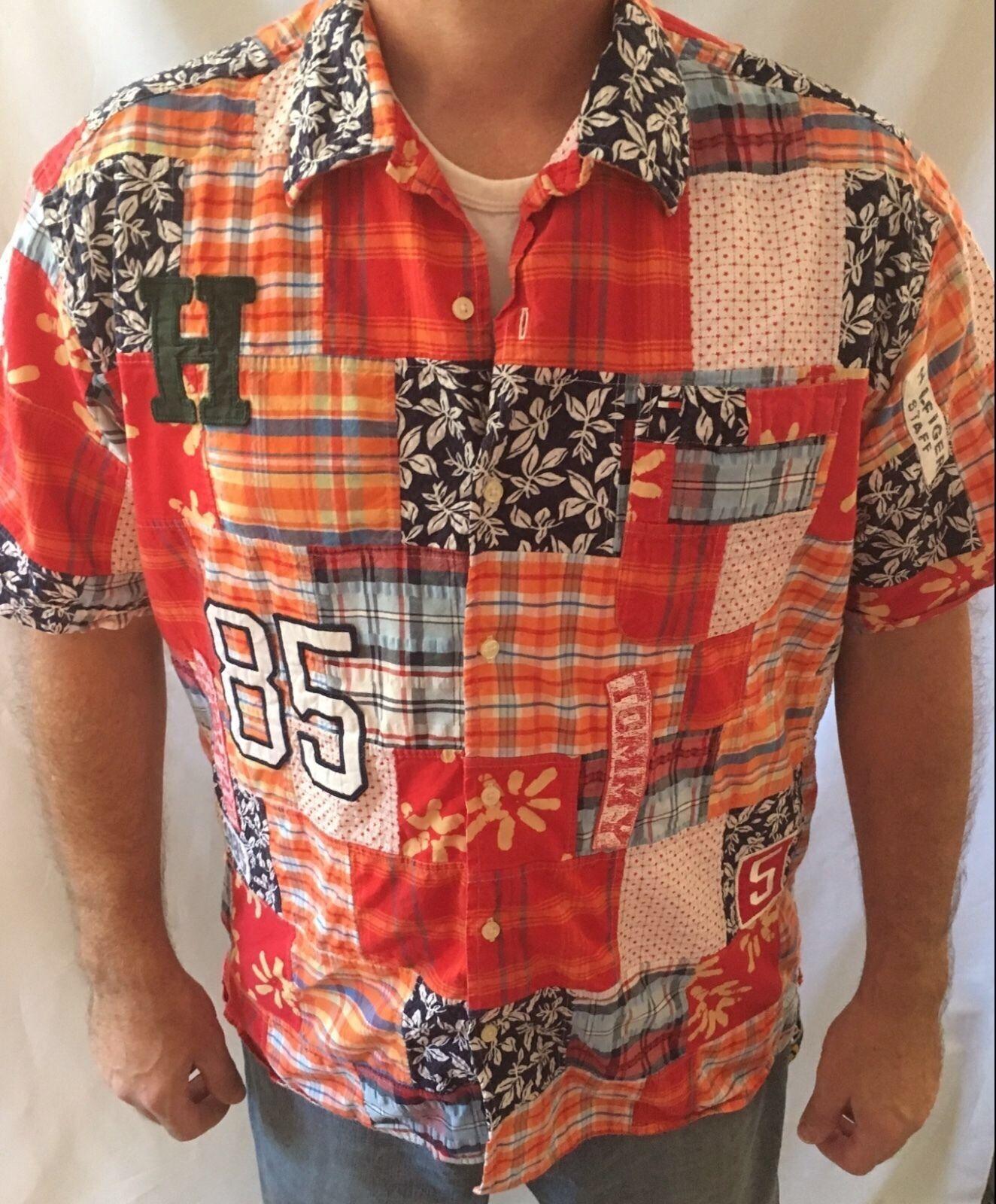 Rare TOMMY TOMMY Rare HILFIGER Uomo's 85 Hawaiian Shirt Short Sleeve Madras Size XL EUC c3efb2