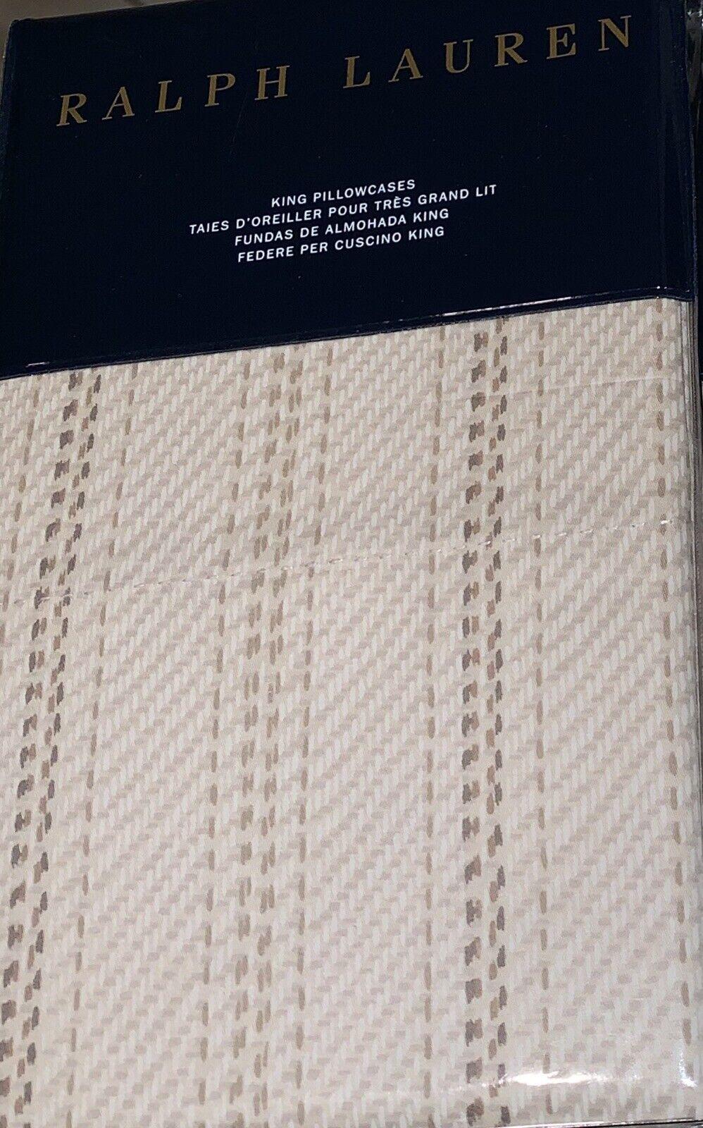 (2) Ralph Lauren Annandale Meade Stripe KING Pillowcases Tonal Sand Beige  130