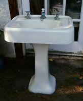 Vintage Standard Manufacturing Cast Iron 2 piece Pedestal Sink