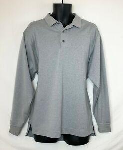 FootJoy-Men-039-s-Long-Sleeve-Light-Gray-3-Button-Polo-Shirt-Embrd-Logo-Meas-as-XL