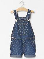 Gap Kids Girl's 1969 Floral Denim Short Overalls Size S 6-7