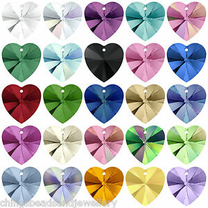 2-Swarovski-6228-Crystal-Xilion-Heart-14mm-All-Colours