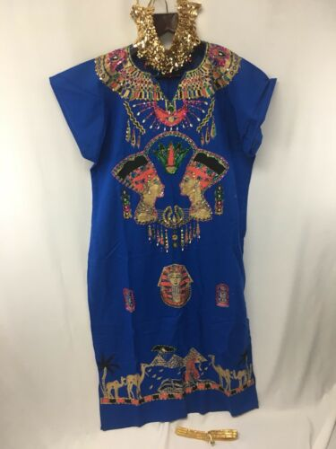 Egyptian Queen Pharaoh COSTUME Dress, Necklace, Snake Headdress Egypt