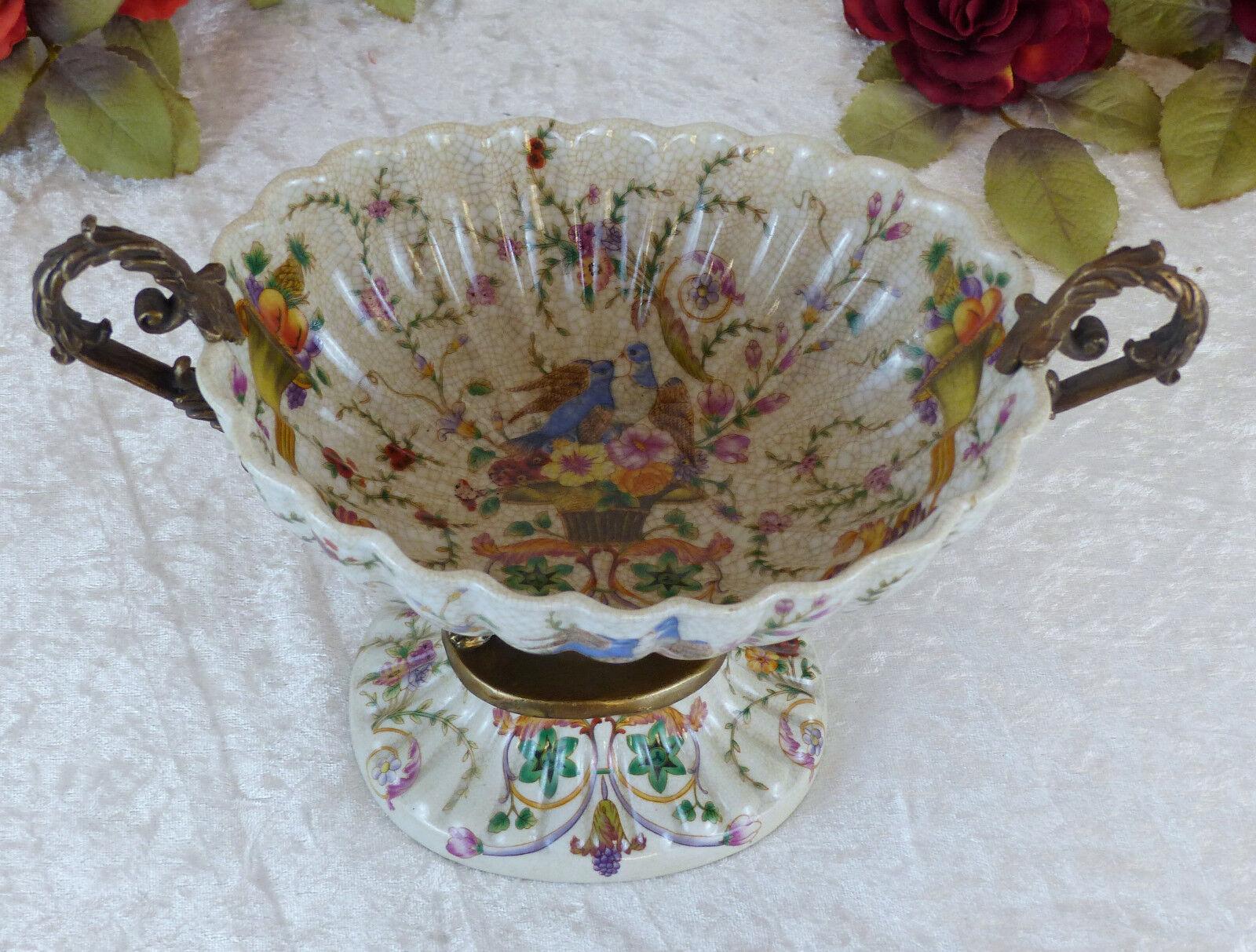 Bol Porcelaine Bronze SALADE DE DE SALADE FRUITS style art déco craquelle Antik apparat Bol DECO b49f80