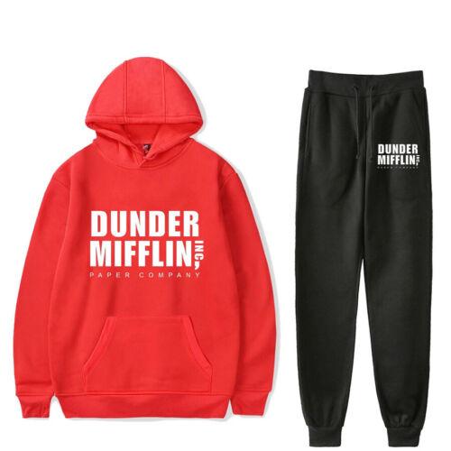 New Dunder Mifflin Fashion Printed Hoodie Sweatshirt Pullover Pants Casual Set