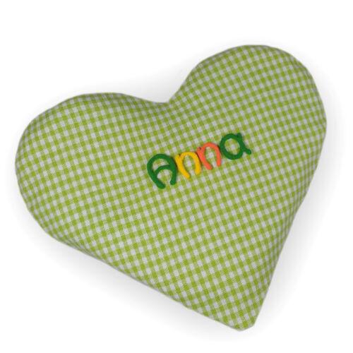 Wärmekissen Herz kariert mit Namen Körnerkissen Geschenk Baby Personalisiert