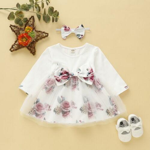 Baby Girls Floral Printed Long Sleeve Dress+Headband 2Pcs Outfits Sets Mesh Tutu