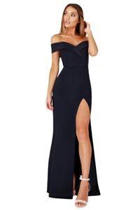wholesale dealer 42777 d698a Dettagli su abito lungo donna cerimonia party con spacco scollo a cuore  vestito sera
