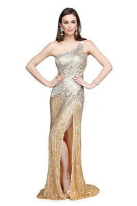 4616c9a369d NWT Asymmetrical gown by Primavera Couture GOLD SILVER beaded size 6 ...