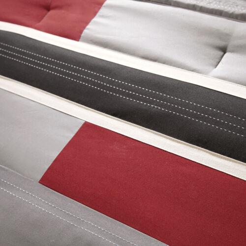 MODERN COZY RED GREY BLACK WHITE STRIPE SPORTY BOYS SOFT COMFORTER SET /& PILLOW
