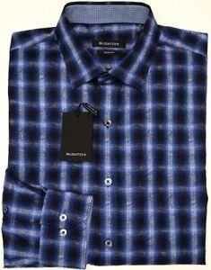 NEW-125-Bugatchi-Long-Sleeve-Shirt-Shaped-Fit-Mens-Blue-Plaid-NWT-100-Cotton