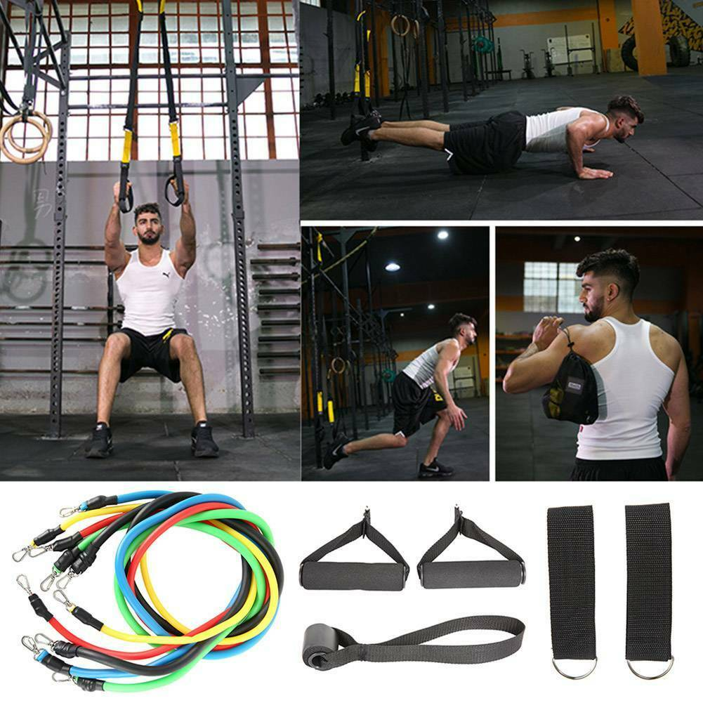 Resistance Bands Workout Exercise Yoga 11Pcs Set Crossfit Fitness Training Tubes 9