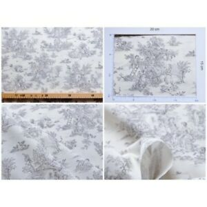Coupon-fabric-toile-de-jouy-mini-pastoral-small-grey-fd-ivory