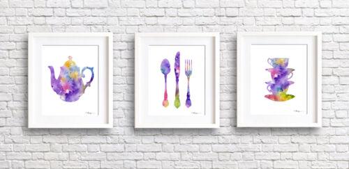 Set of 3 Kitchen Watercolor Paintings Triptic Art Prints by DJR