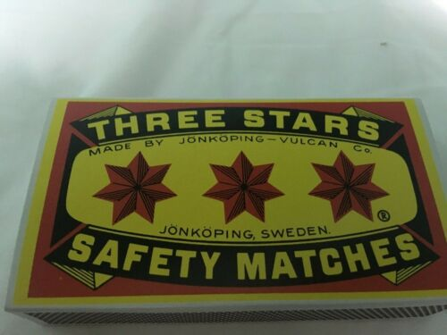 THREE STARS SAFETY MATCHES 1 LARGE BOX