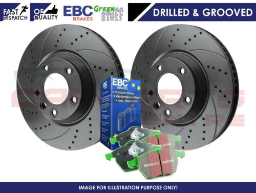 FOR STARLET TURBO EP82 EP91 FRONT DRILLED GROOVED DISCS & EBC GREEN STUFF PADS