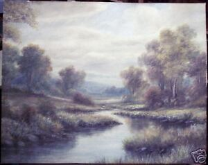 Unknown Artist: Original Signed Pastel Landscape c 1880