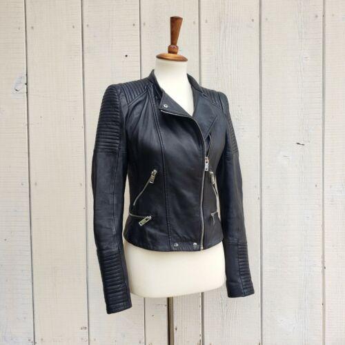 Zara Black Moto Motorcycle Biker Ribbed Leather Ja
