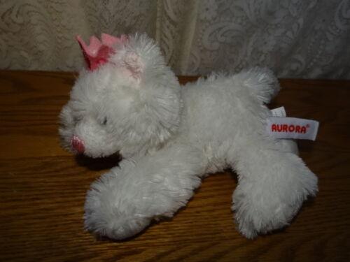 "Cat Kitty Kitten Plush 7"" White w pink crown Puppy Stuffed Animal Toy"