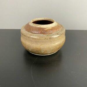 Vintage Pottery Stoneware Plant Vase Pot Planter Brown Glazed Handmade Brown Tan