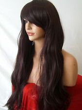 Black plum wig Fashion Party cosplay halloween Long Straight Full Ladies Wig E19
