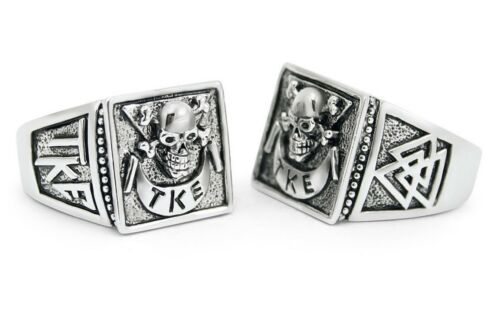 Tau Kappa Epsilon sterling silver men/'s SKULL RING TEKE