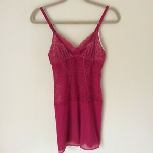 On-Gossamer-Women-039-s-Stretch-Lace-and-Mesh-Red-Chemise-Sleep-Shirt-Small-EUC