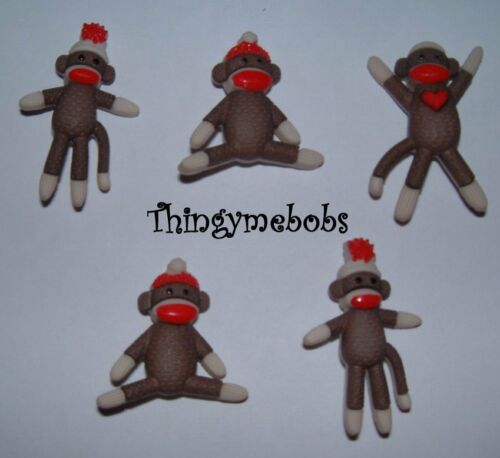 CARDMAKING//SEWING 5 SOCK MONKEY THEMED NOVELTY CRAFT BUTTONS