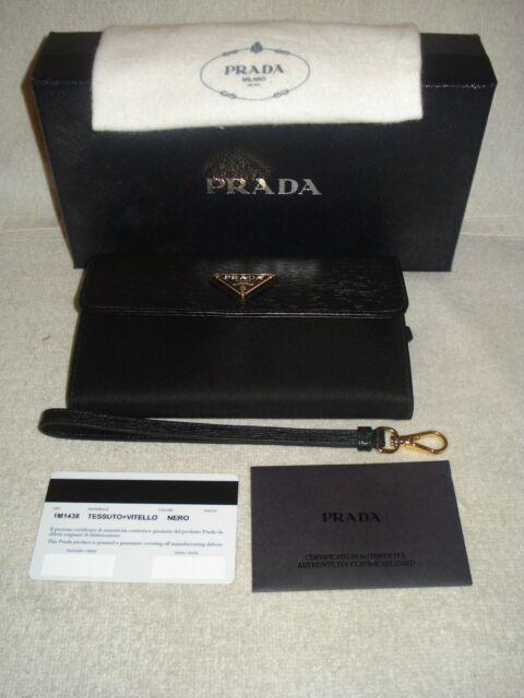 100 Authentic PRADA Saffiano Lux Black Small Wristlet Wallet bag for ... 357479e00d75d