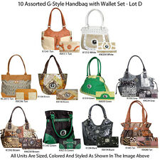 Wholesale Lot - 10 Women's G-Style Designer Handbag Purse w Clutch Wallet Sets
