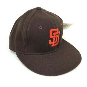 Vintage-San-Diego-Padres-Marron-Lana-New-Era-pro-Modelo-Entallado-Gorro-Logotipo