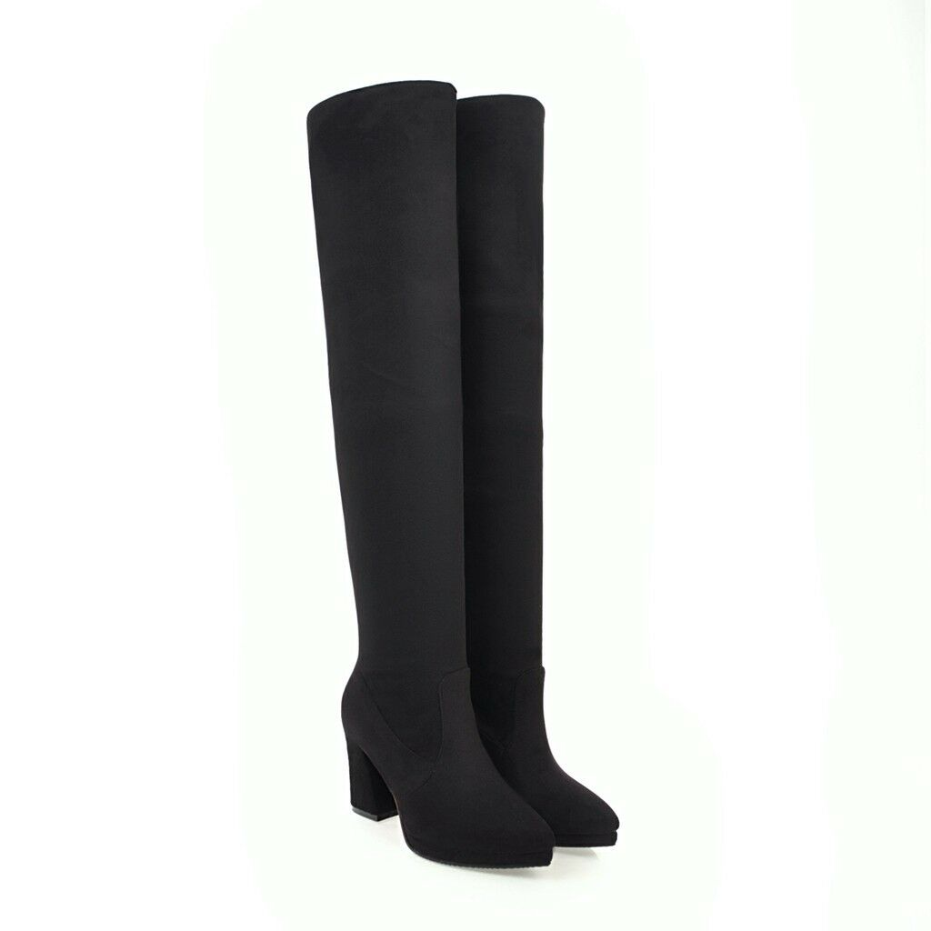 Women's Black Suede Fabric Pointed Toe Knee High Heel Boots Plus Size Shoes O625