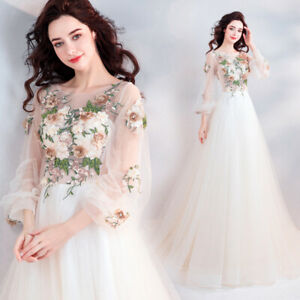 Details About Princess Flower Patterns Tulle Whiteivory Wedding Dress Long Sleeve Bridal Gown