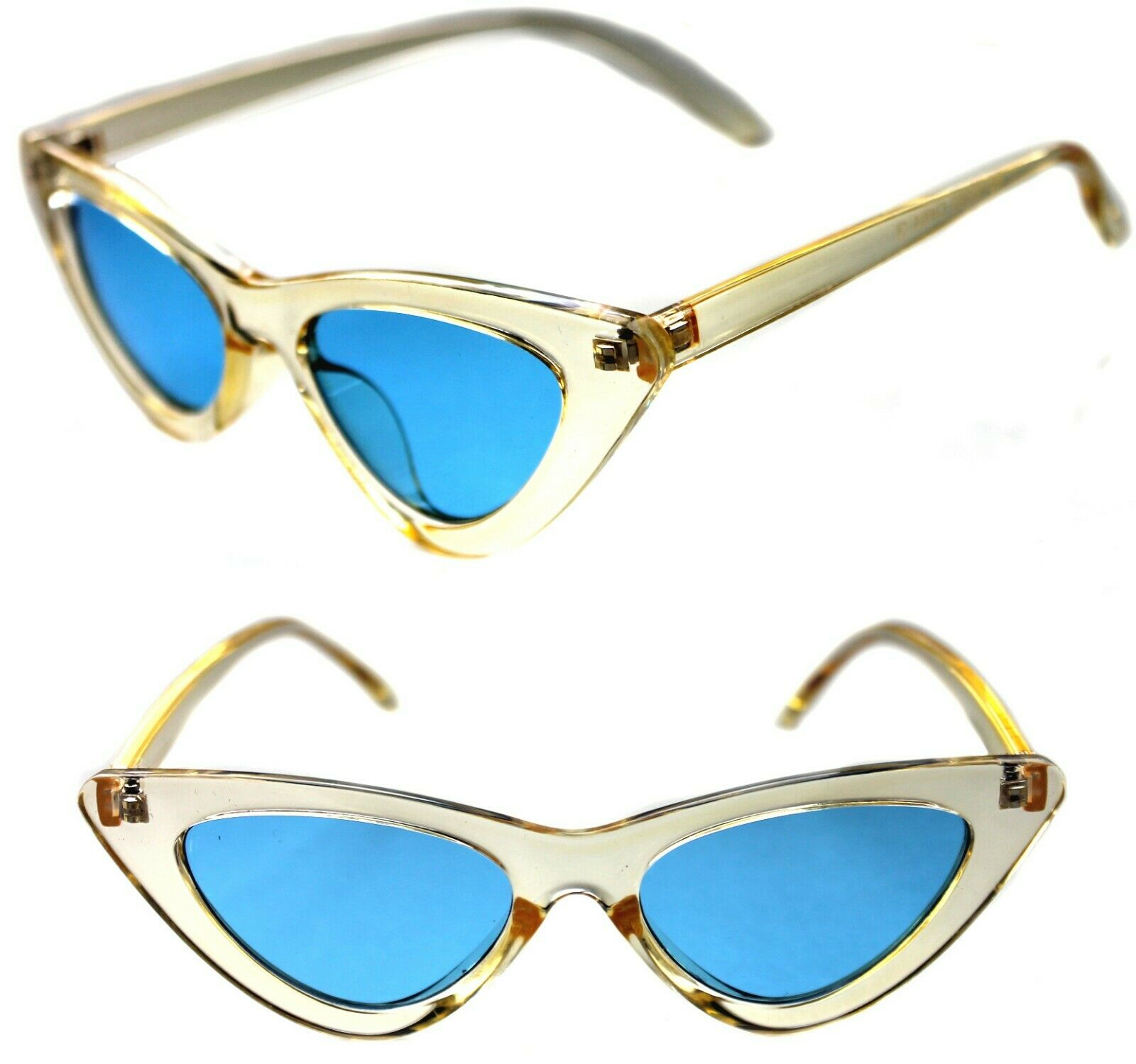 Women's small Cat Eye Vintage Sunglasses clear Transparent Yellow Retro 50's