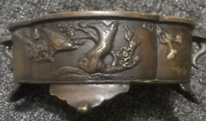 Vintage-Japanese-Bronze-Footed-Planter-Bird-Relief-Signed-Asian-Mark-Bowl