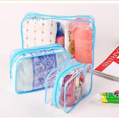 3 PCS/SET Waterproof Makeup Toiletry Clear PVC Travel Wash Bag Pouch Set New